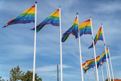 Gay Pride Malmö 2019 Rainbow flags waving over the city of Malmö during pride week 2019 © Coupleofmen.com