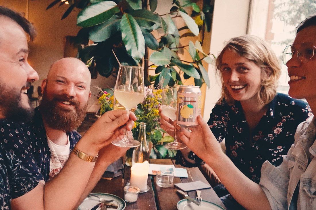 Prost! Dinner at the vegan restaurant Mineral in Malmö with our friends Onceuponajrny © Coupleofmen.com