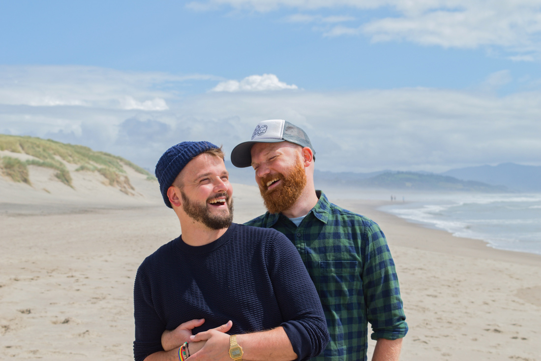 Happy to be in Oregon and enjoying the Pacific beach together © Coupleofmen.com