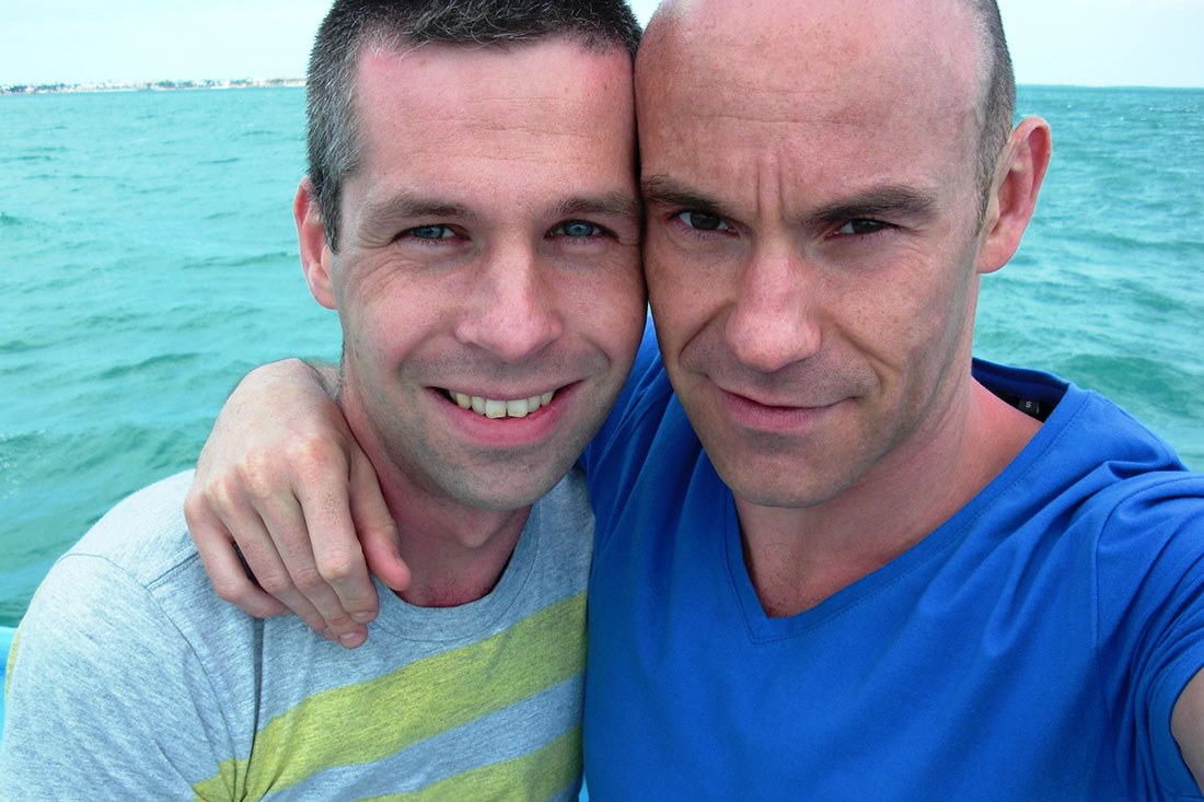 Selfie during their first gaycation together in Key West, Florida