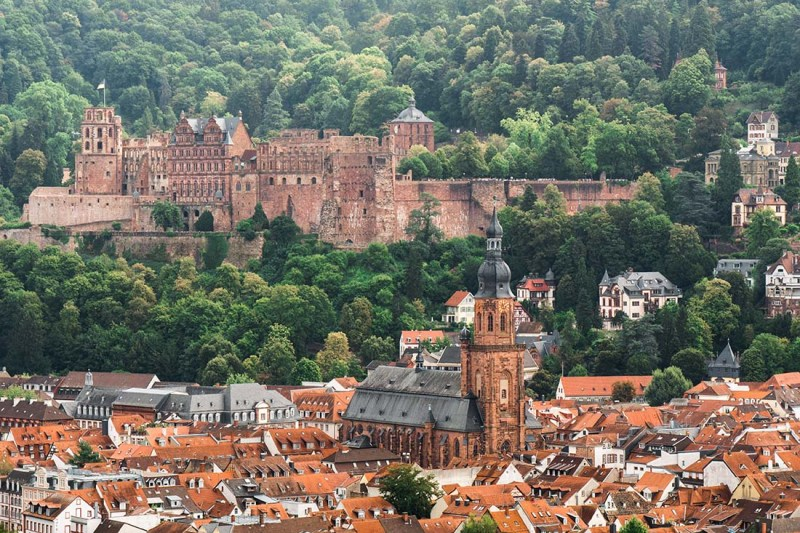 typical for Germany - Beautiful old towns with castles like here in Heidelberg