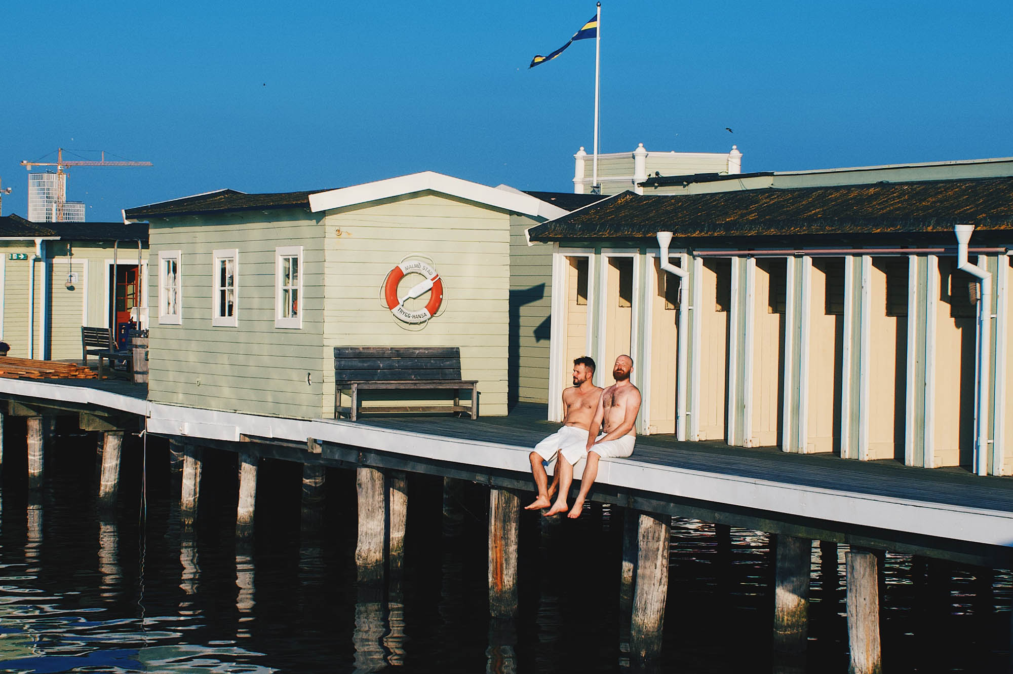 Gay Sauna Malmö Enjoying the sun at Malmö Kallbadhus, a gay hot spot of Malmö © Coupleofmen.com