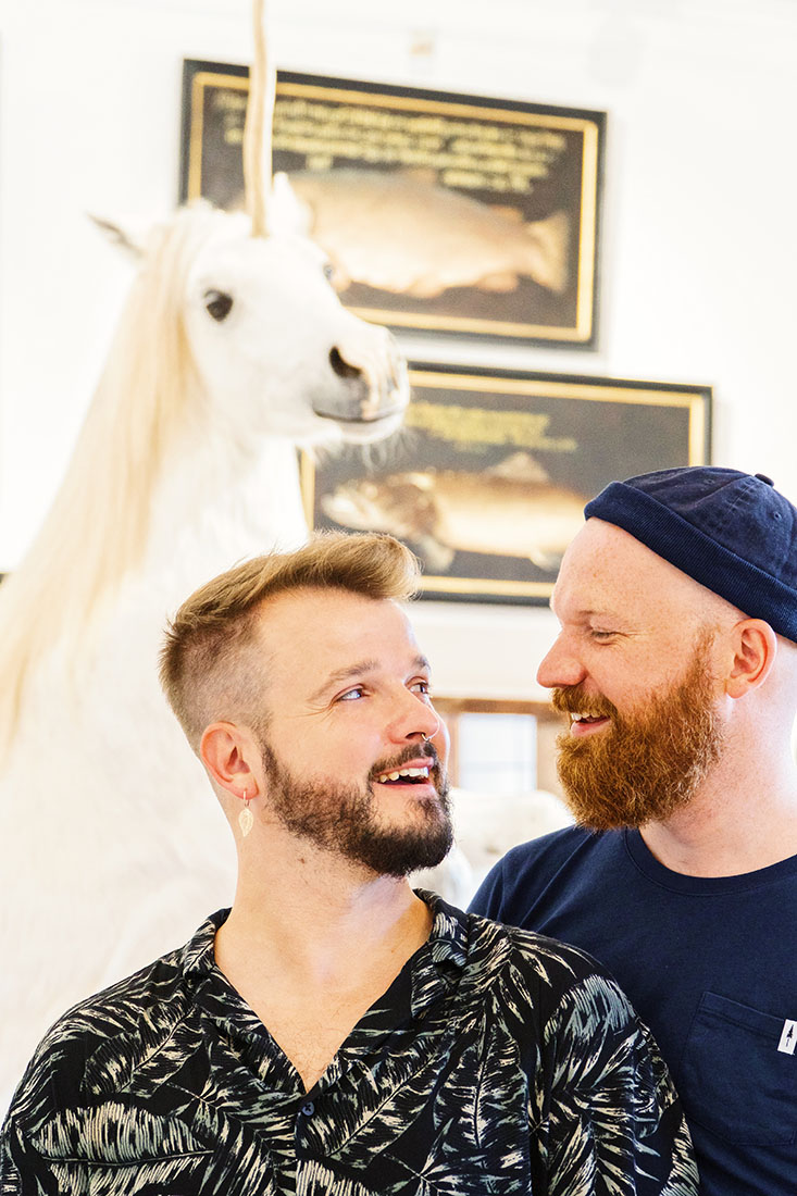 rediscover Gay Salzburg Gay Selfie with a 'real' unicorn at Hellbrunn Palace © Coupleofmen.com