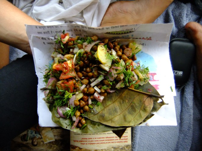 Beats a sandwich: chickpea salad from a hawker aboard an Indian train