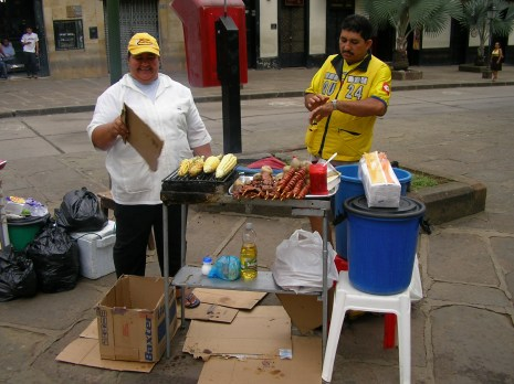 Pork and beef kebabs and corn on the cob (good drinking snacks!), Colombia
