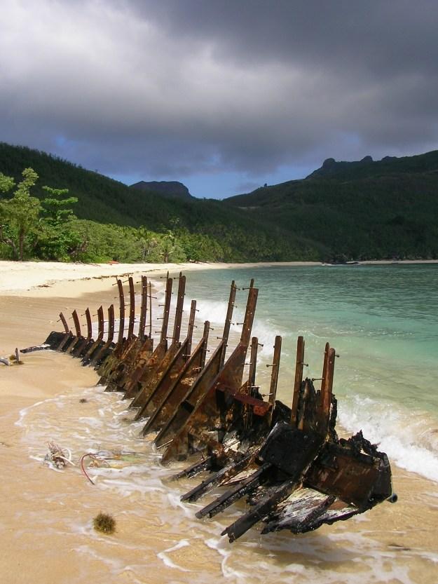 A shipwreck on Waya beach, Fiji