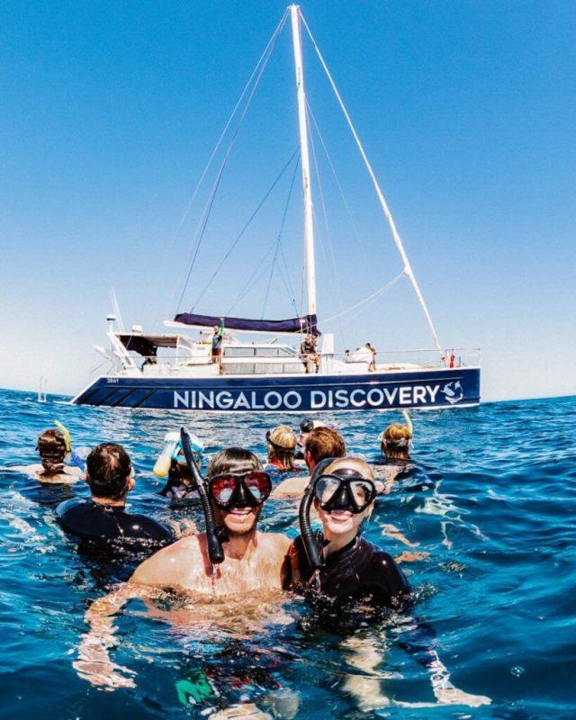 Michael et Alex Snorkeling avec Ningaloo Discovery Tour des requins baleines exmouth Australie