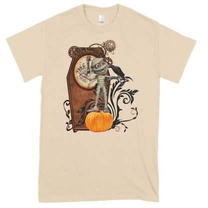 Funny mummy with crow and pumpkin t-shirt