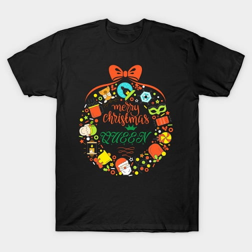 Cute Wreath Christmas Queen T Shirt
