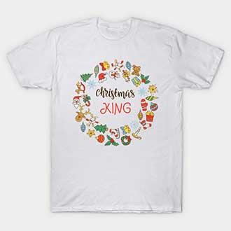 Wreath Christmas Couple King Queen T-Shirt