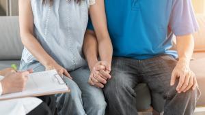 Photo of couple holding hands in counseling | Pre Marriage Counseling | Couples Counselor | Dr. Timothy Barron | Cincinnati, OH 45226