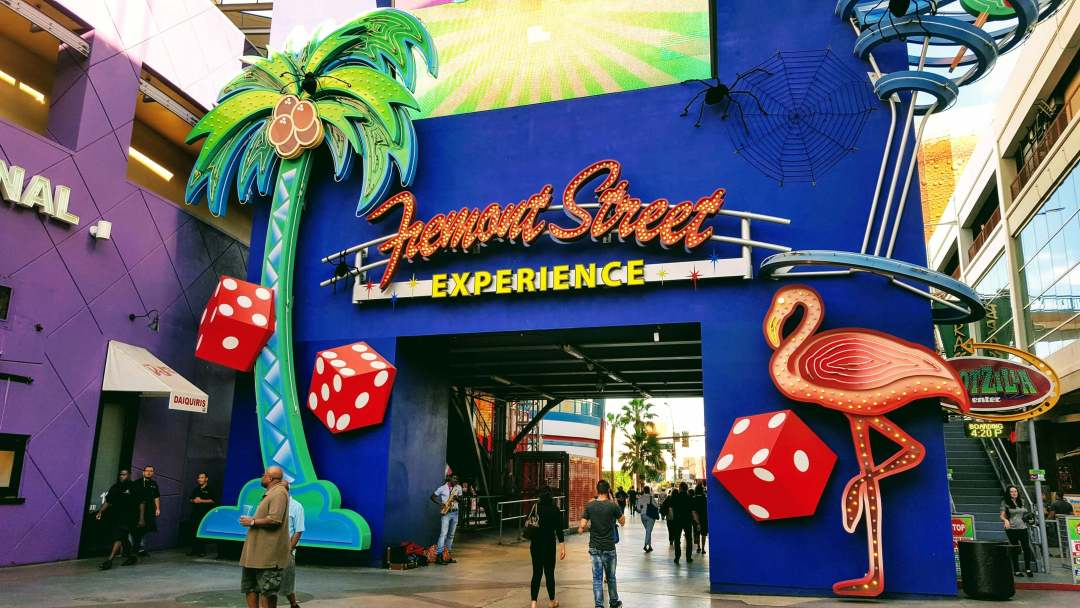 An image of Fremont Street, downtown Las Vegas that we recommend for cheap activities in Las Vegas