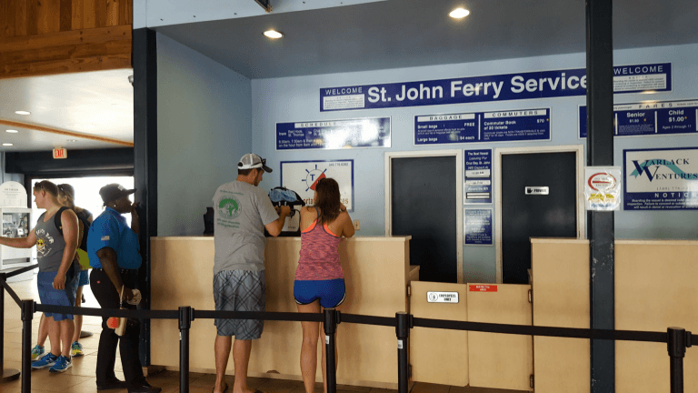 Ticket desk at the Red Hook ferry terminal