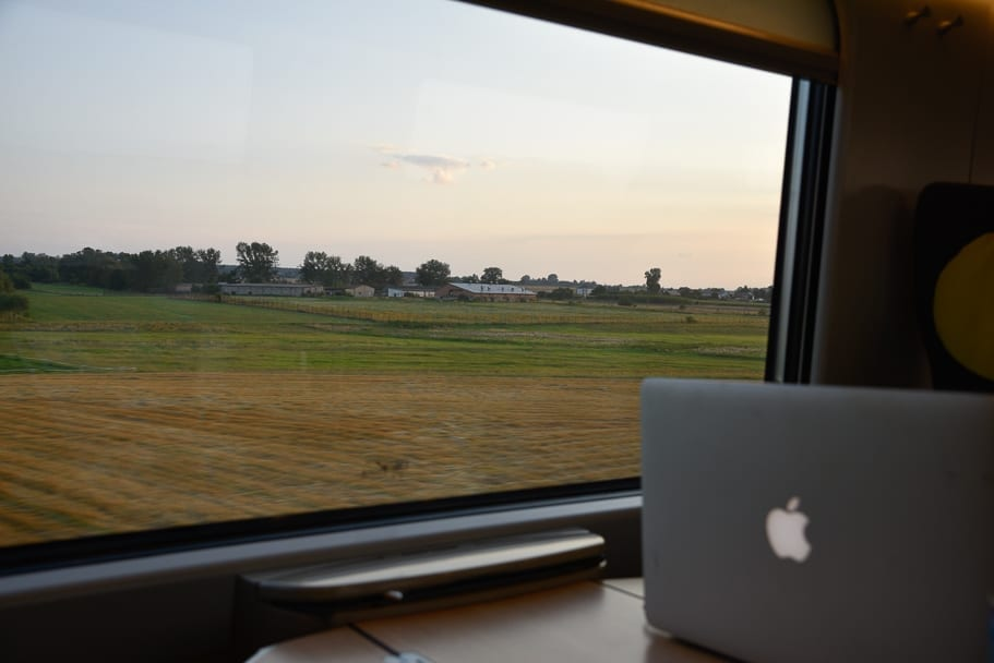 Laptop tables included in 1st class seats on the train