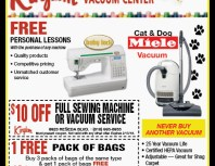 Kingdom Sewing & Vacuum Center, Chatsworth, coupons, direct mail, discounts, marketing, Southern California