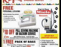 Kingdom Sewing & Vacuum Center, Porter Ranch, coupons, direct mail, discounts, marketing, Southern California