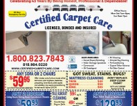 Certified Carpet Care, Simi Valley,, coupons, direct mail, discounts, marketing, Southern California