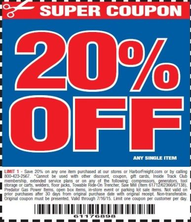 Harbor Freight Coupons Database 20% Discount