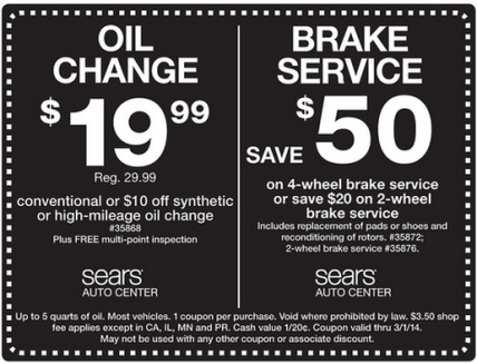 Sears Auto Discount Code Save $50