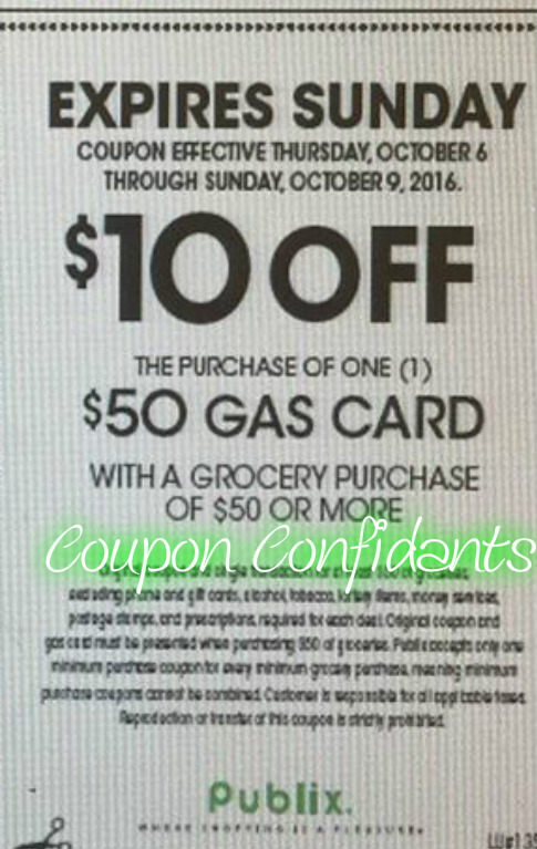 picture relating to Printable Gas Coupons called Publix Least complicated Specials 10/5 - 10/11 or 10/6 - 10/12 * Fuel CARD