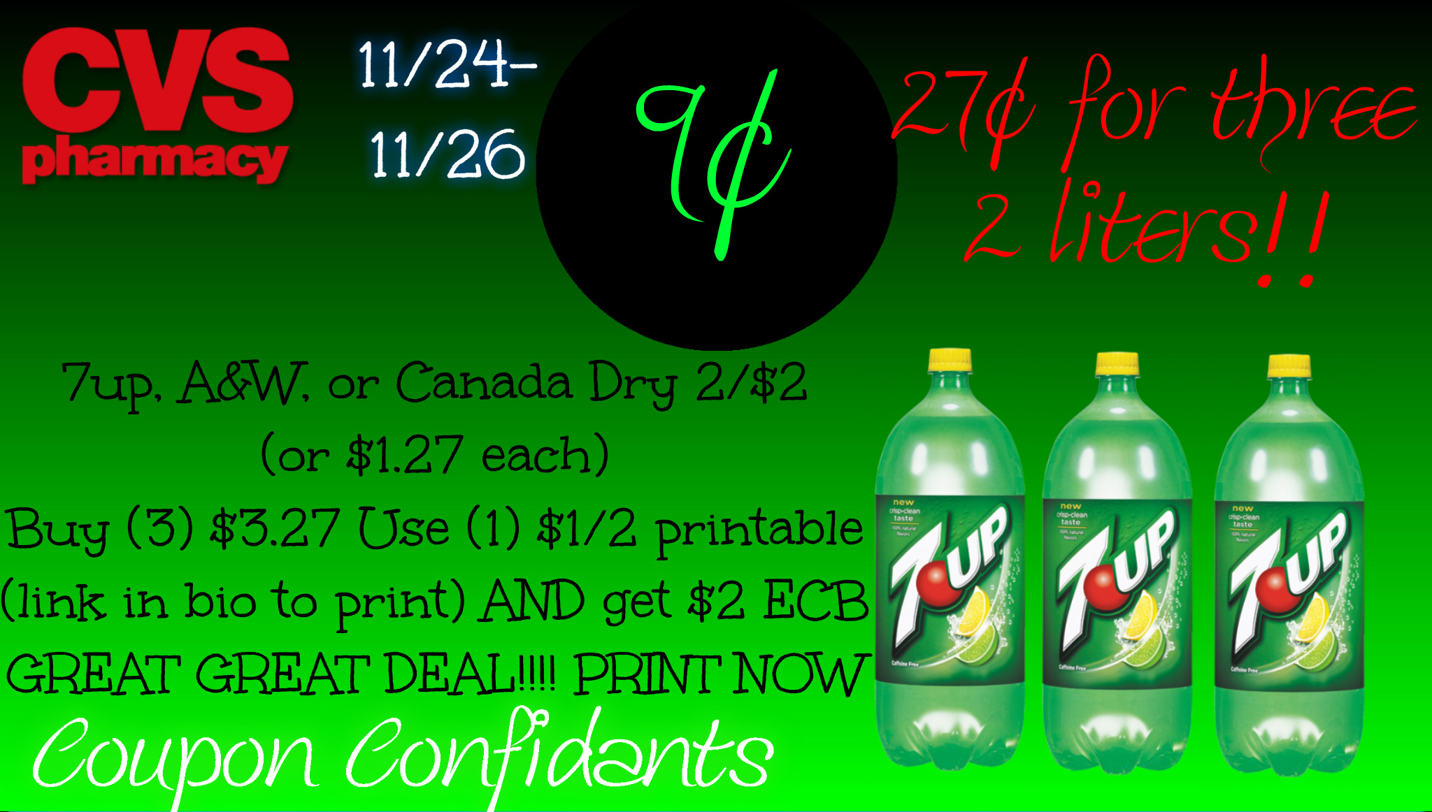 9¢ for 7up 2 liter! WOW!!! GREAT CVS DEAL!