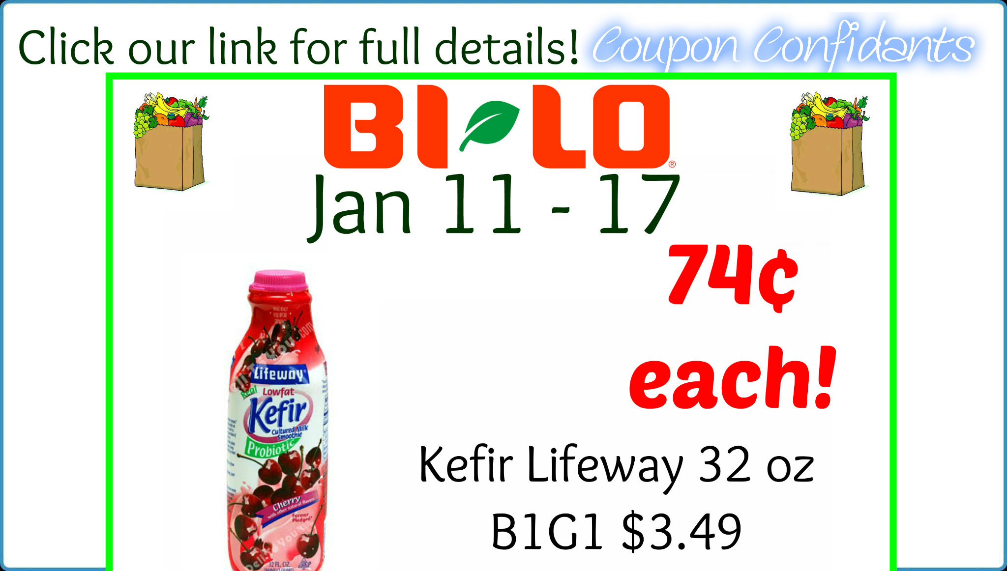 picture about Lifeway Coupon Printable called Kefir Lifeway Package at Bi-lo! Merely 74¢ each individual 32 oz! ⋆ Coupon
