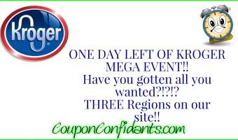 ONE day left for Kroger Mega Event!!