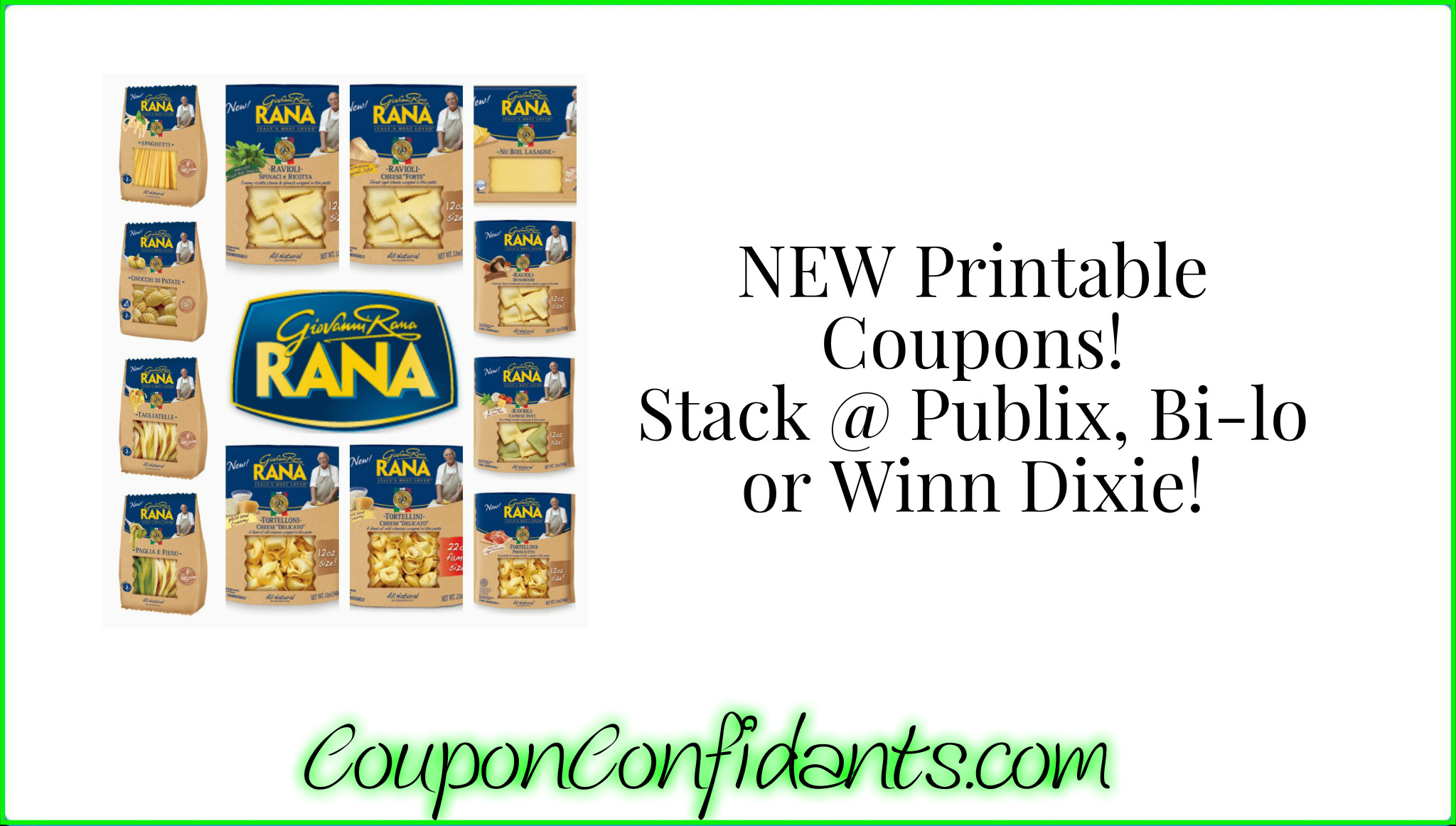 photograph relating to Winn Dixie Printable Coupons known as Fresh new Rana Pasta Printable! Recent sale at Publix AND