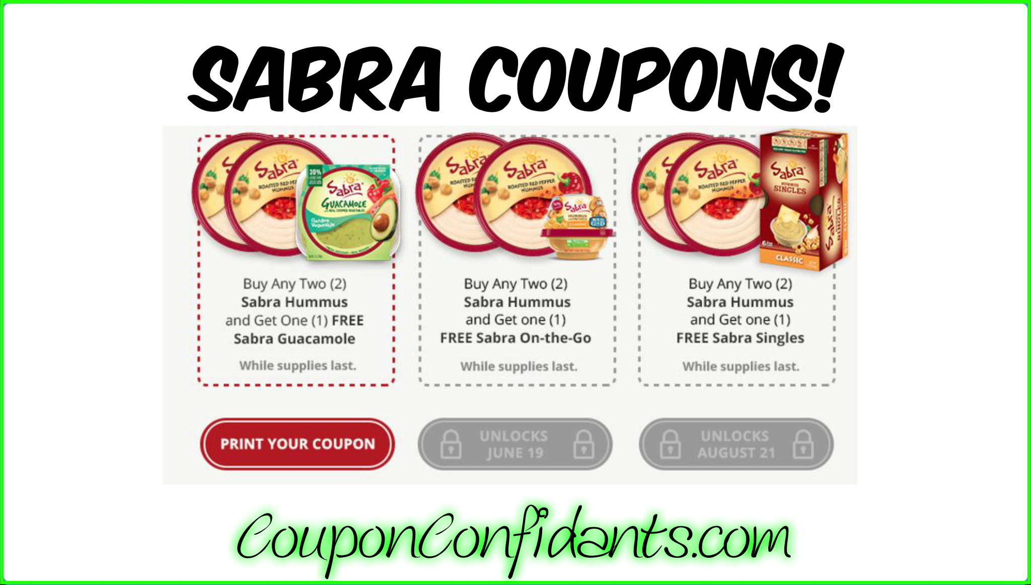 THREE HUGE Sabra Coupons!!! Print the first one NOW!