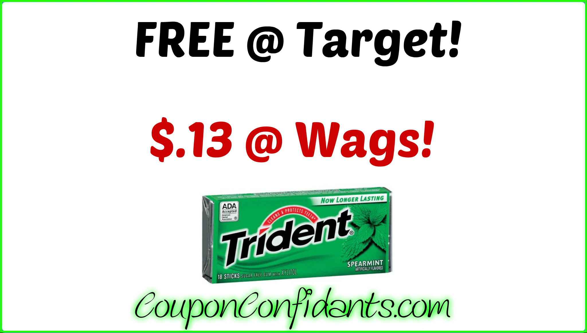 photo relating to Trident Coupons Printable named Cost-free Trident at Focus AND $.13 every single at Walgreens