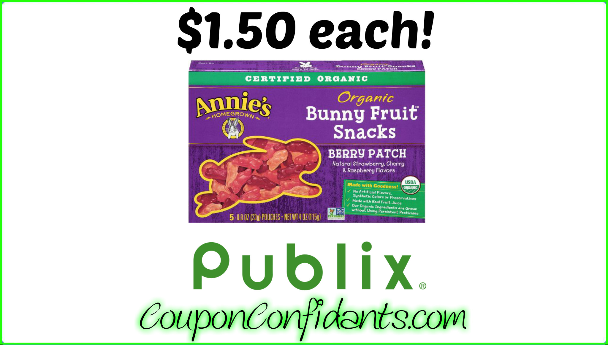 Annie's Fruit Snacks only $1.50 at Publix!