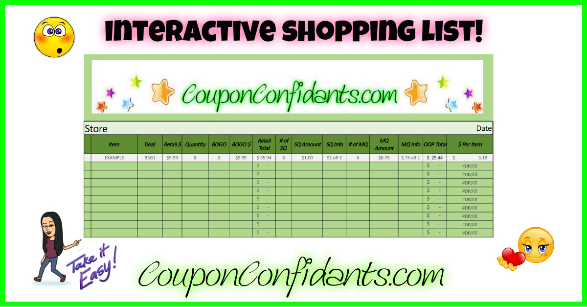coupon shopping list spreadsheet