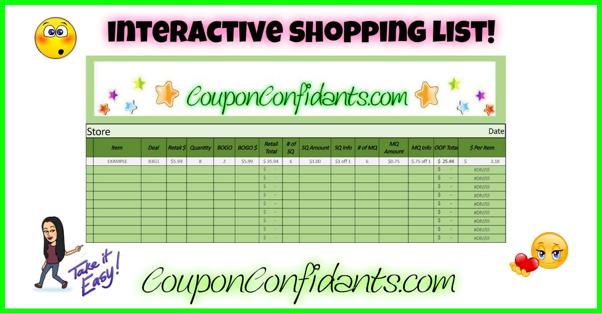 grocery list spreadsheet