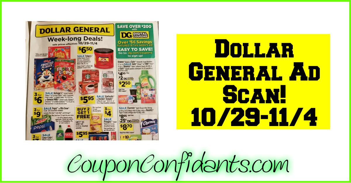 Dollar General Ad Scan! 10/29 - 11/4