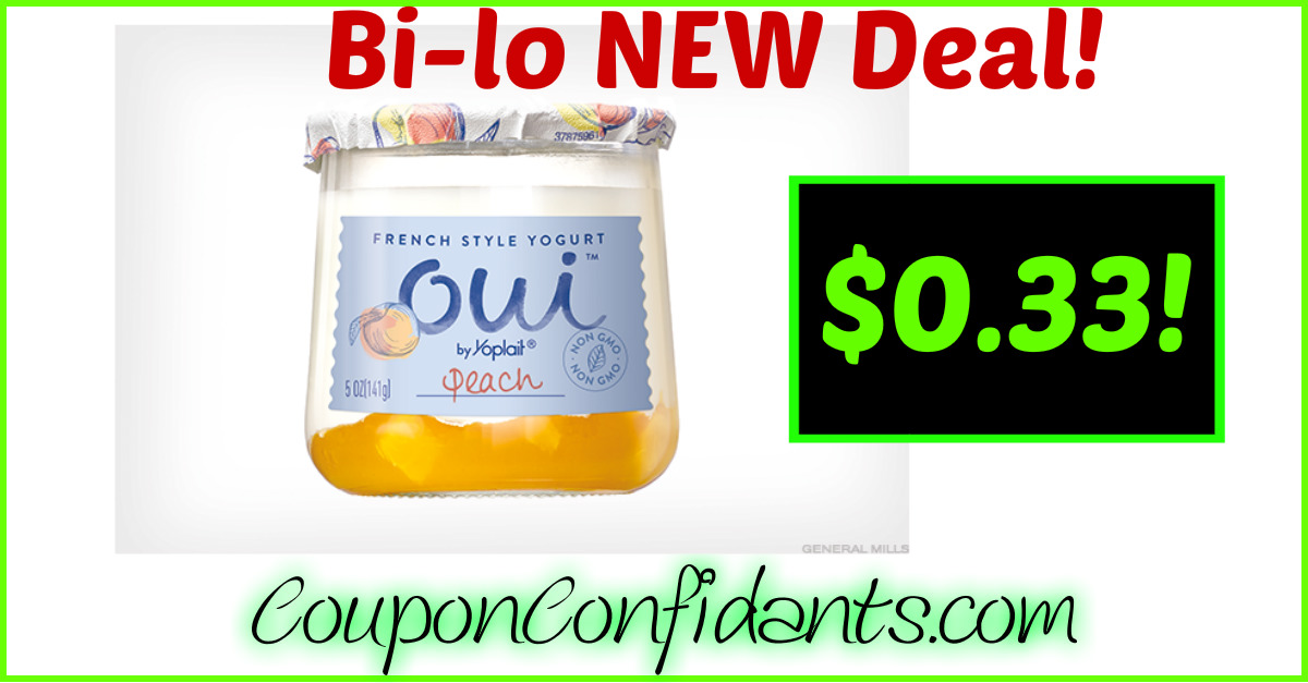 Oui Yogurt $0.33 each at Bi-lo!