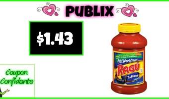 Ragu Pasta Sauce Only $1.43