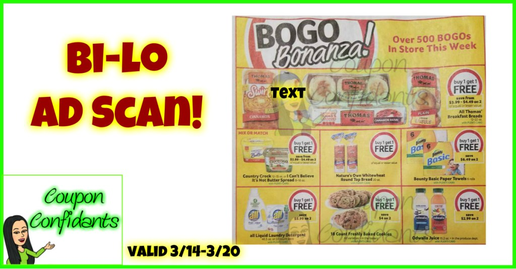 NEW Bi-lo Ad Scan!! 3/14 – 3/20