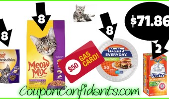 Kitty and Household Gas Card Deal! 22 items & $50 Gas for $71.86!