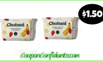 Chobani Greek Yogurt 4 packs only $1.50 at Publix!
