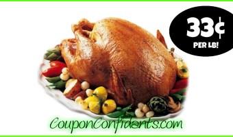 33¢ per lb Turkey at Bi-lo! (49¢ per lb at Winn Dixie)