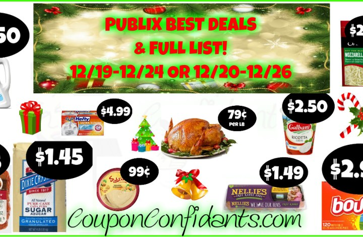 Publix Best Deals and FULL LIST! Christmas AD! Dec 19 – 24 or Dec 20 – 26