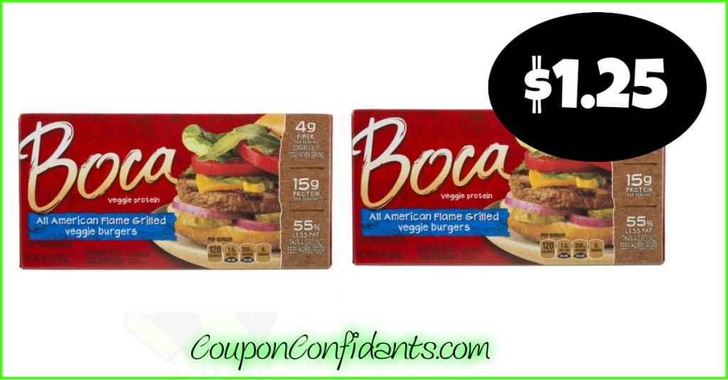 Boca Veggie Burgers only $1.25 each at Publix!