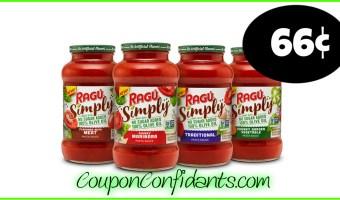Ragu Simply Pasta Sauce only 66¢ at Target!