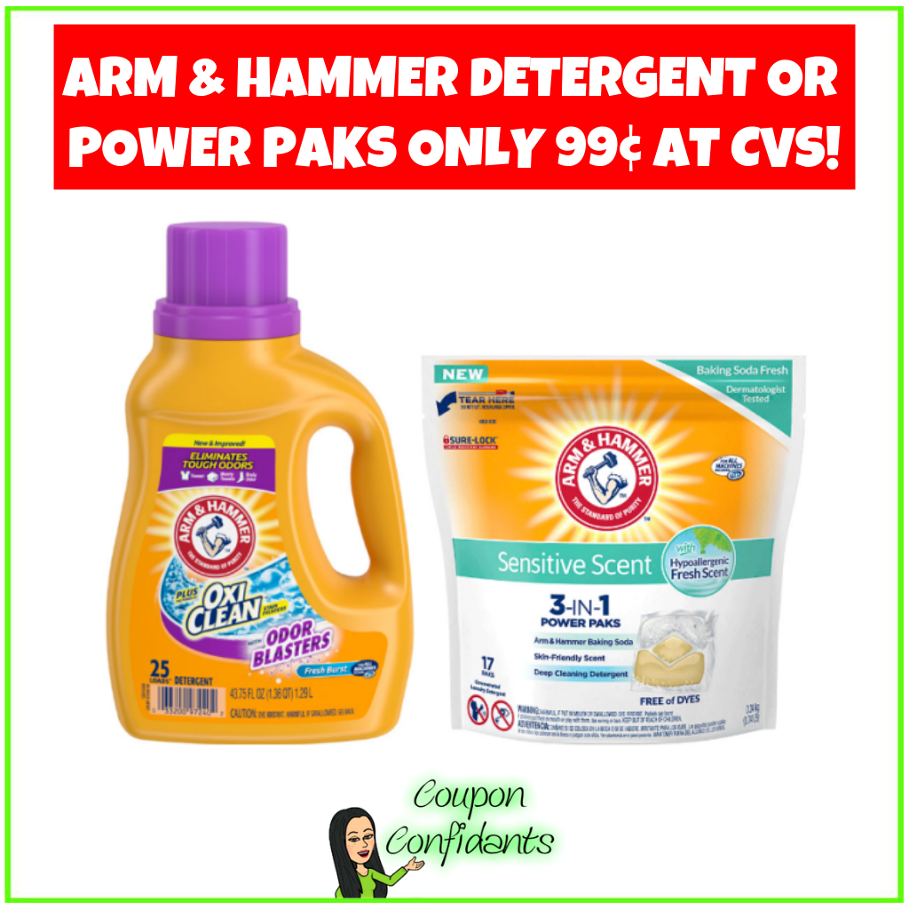 Arm & Hammer Detergent or Power Paks Only 99¢ at CVS!
