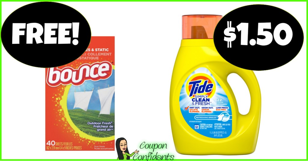 Tide Simply $1.50 and FREE Bounce Dryer Sheets – Winn Dixie and Bilo Deal!