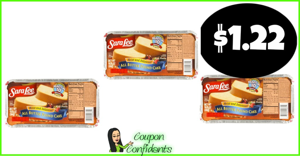 Sara Lee Pound Cake $1-$1.22 at Winn Dixie and Bilo!