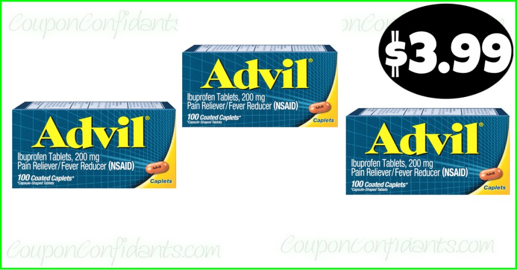 Advil $3.99 for the 100 count at Publix!
