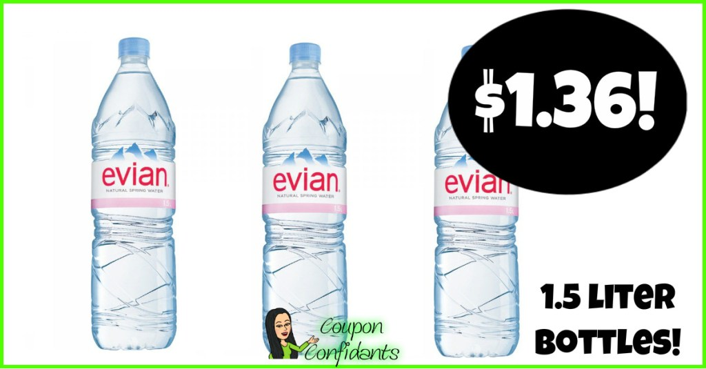 Evian Water Bottles $1.36 each at Publix