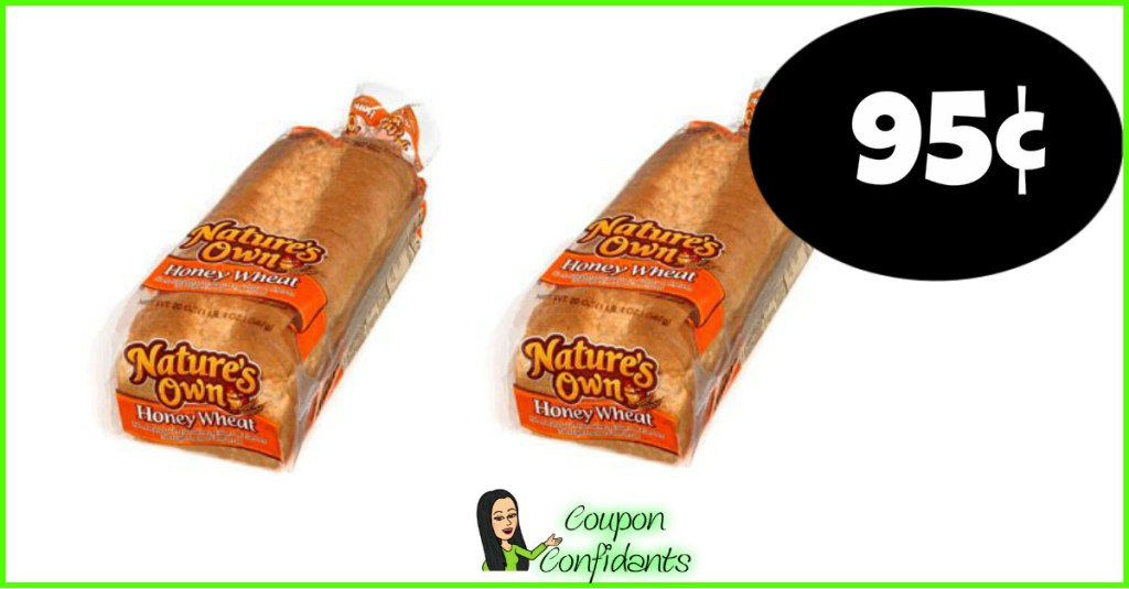 Nature's own Bread 95¢ (possibly 40¢ if doubled!) Winn Dixie and Bilo!