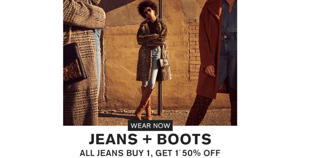 Express BOGO 50% off Jeans and Boots!